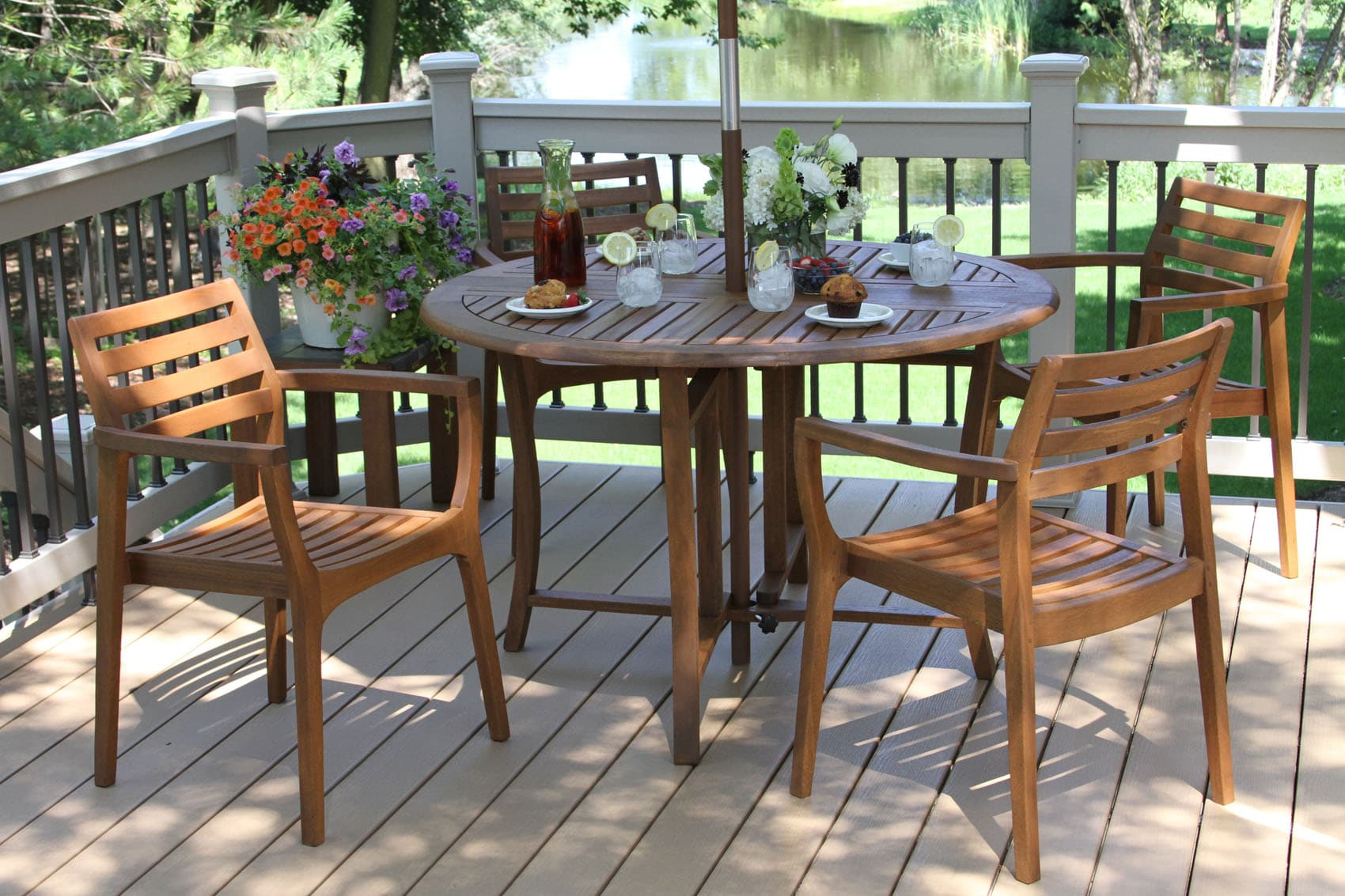 20420   Danish Eucalyptus Stacking Chair, 4pk. With 10025 (48 In. Dia