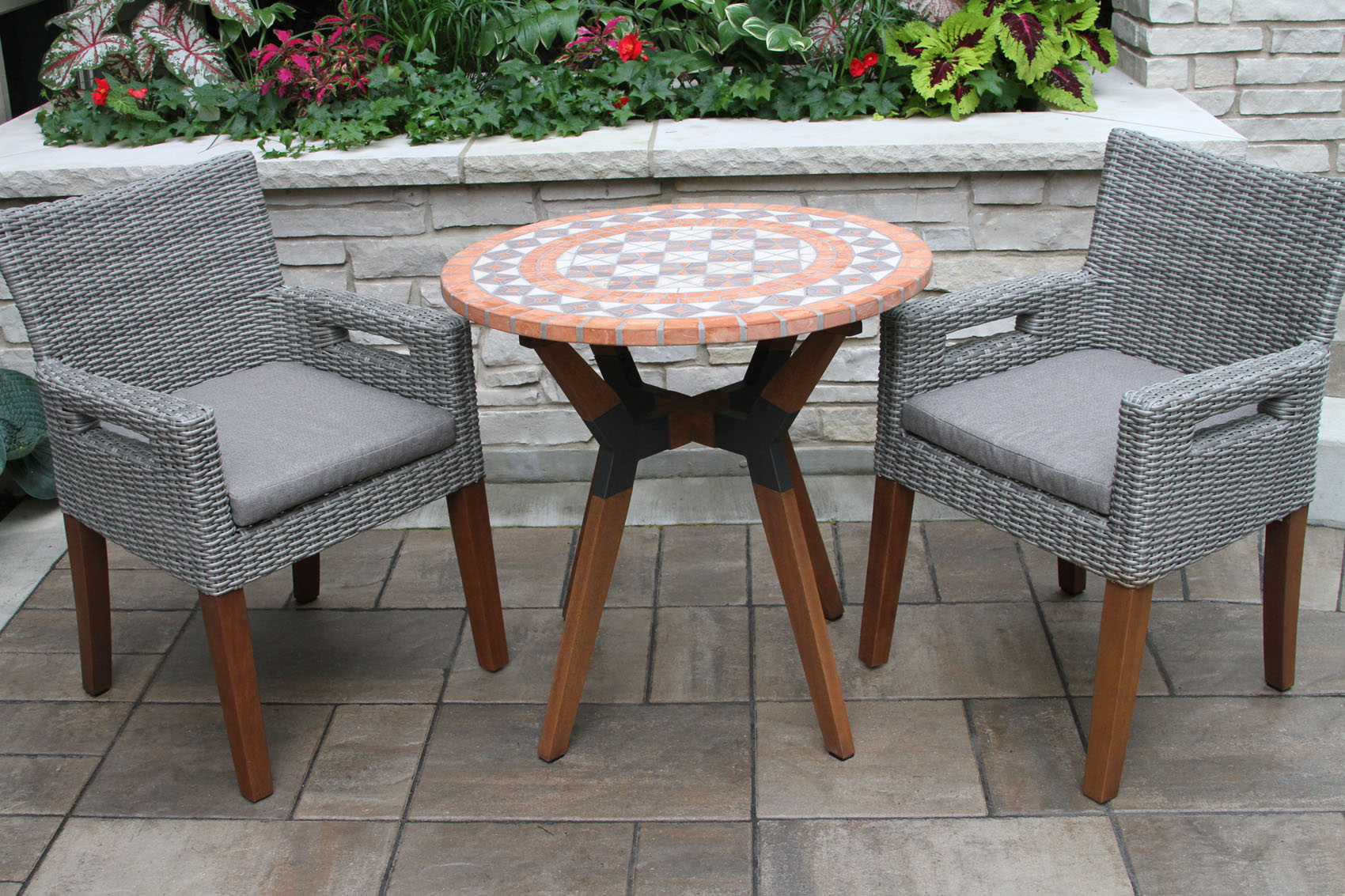 Terra Cotta Mosaic Bistro Table Top With Mixed Material Base U0026