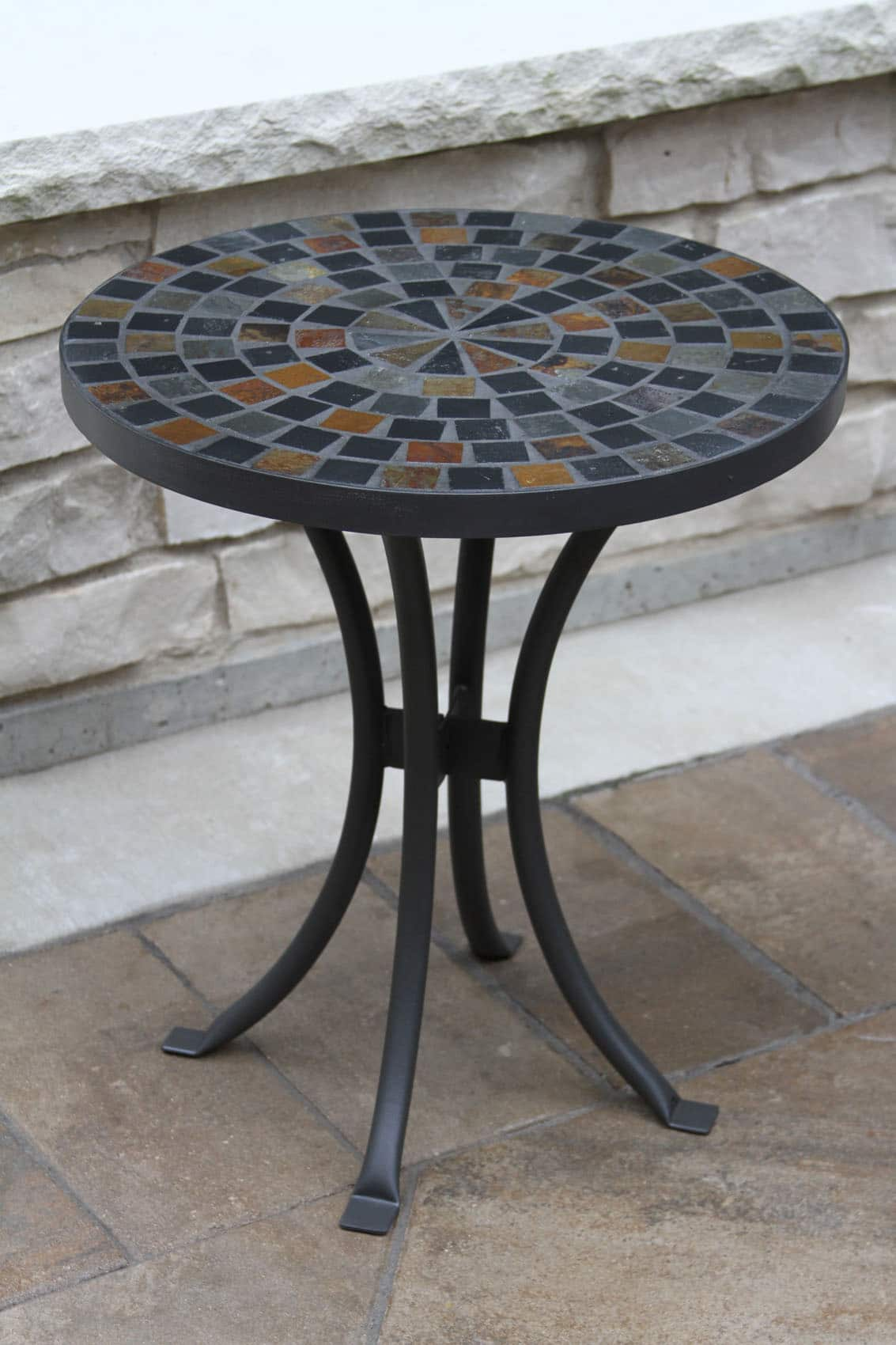 Cobble Stone Mosaics : Quot slate mosaic accent table for decks patios and gardens