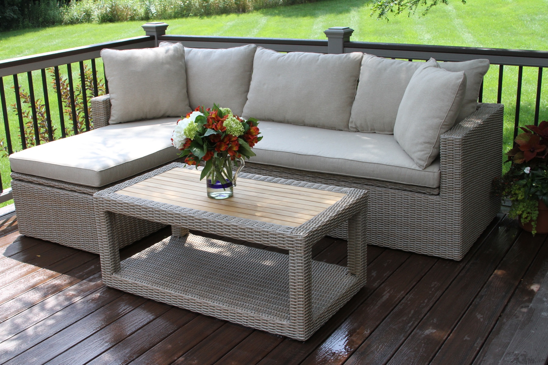 3pc Teak Ash Wicker Sectional Sofa Set With Waterproof Storage