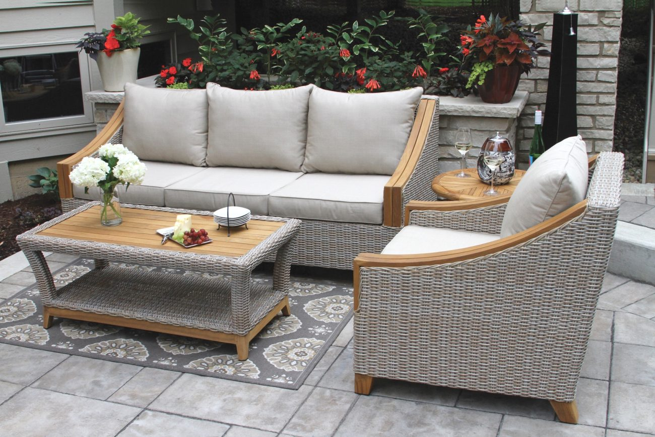 Wicker Amp Natural Teak Wood Sofa With Sunbrella Cushions