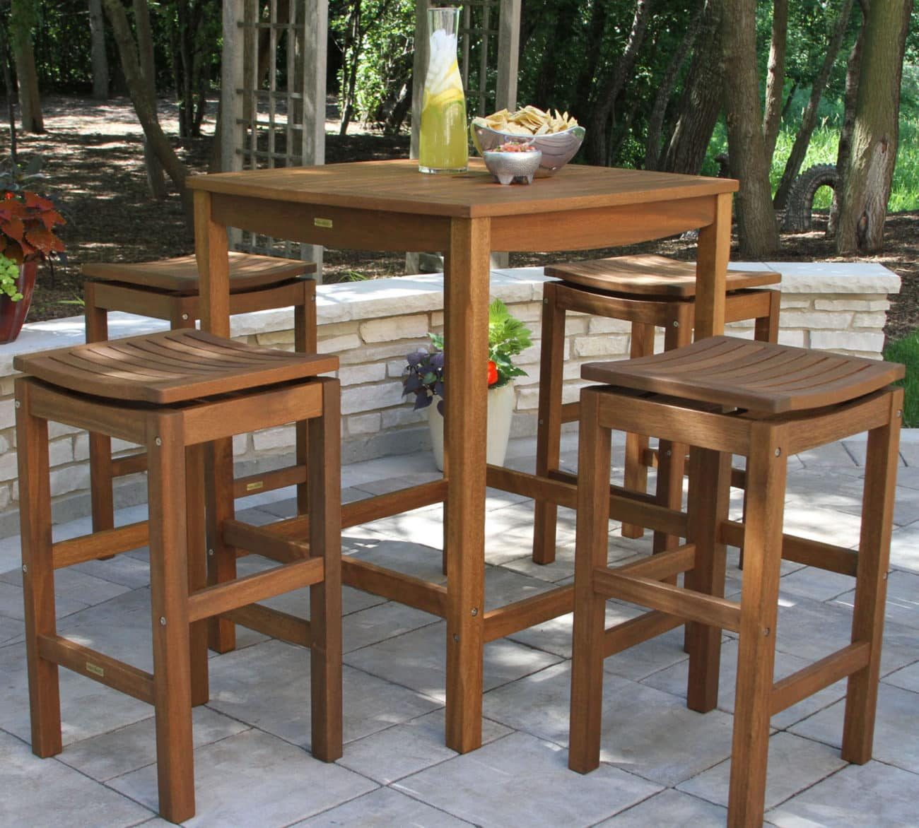 Enjoyable Hardwood Outdoor Bar Height Tables And Chairs For Patio Inzonedesignstudio Interior Chair Design Inzonedesignstudiocom