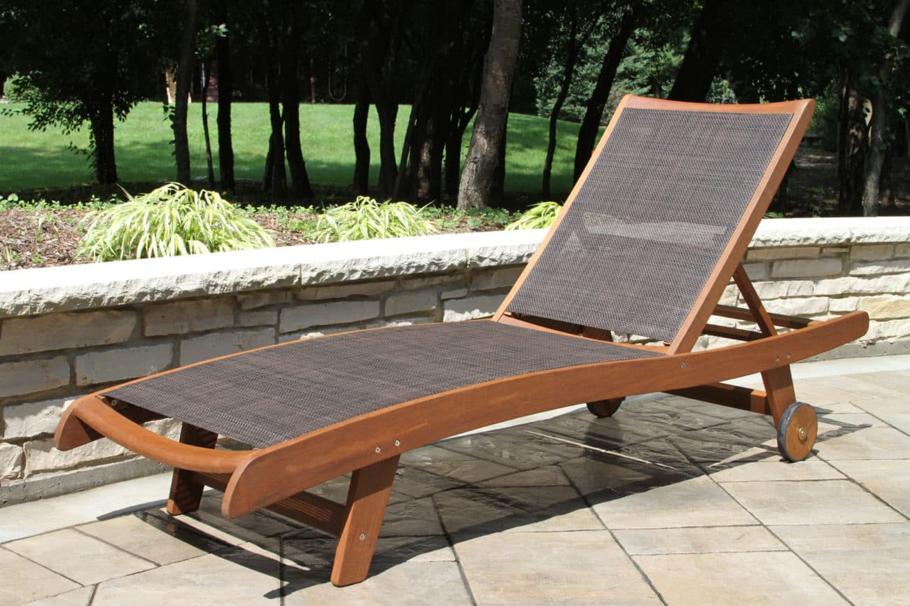 Eucalyptus & Brown Sling Chaise Lounger