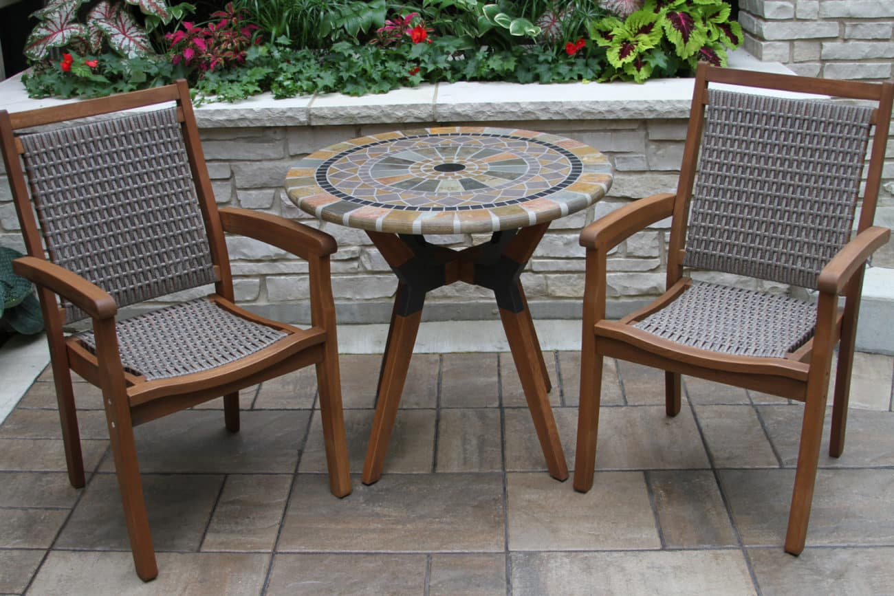 """30"""" Sandstone Mosaic Bistro Table Top with Mixed Material Base"""