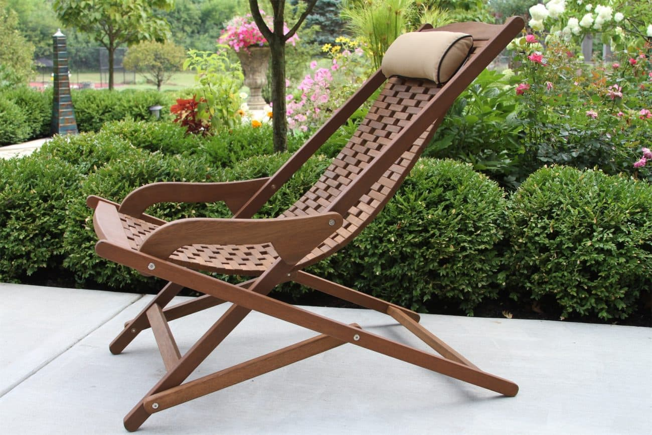 Eucalyptus Swing Lounger with Beige Pillow