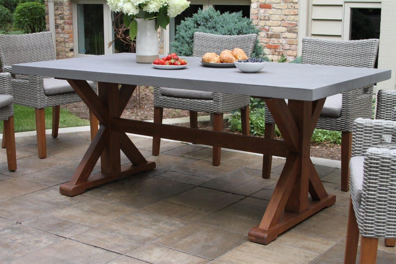 Eucalyptus Dining Table with Composite Concrete Top