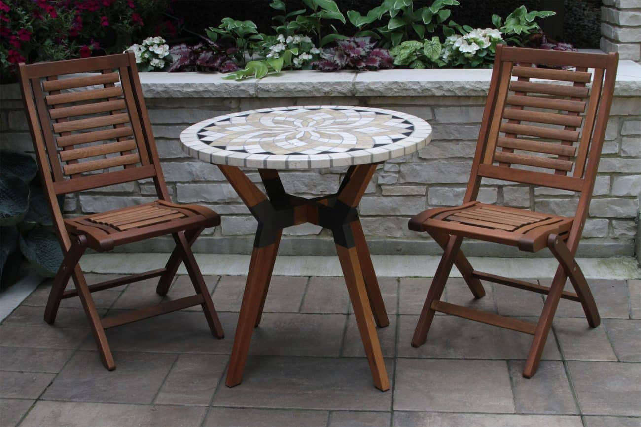 """30"""" Marble Mosaic Bistro Table Top with Mixed Material Base"""